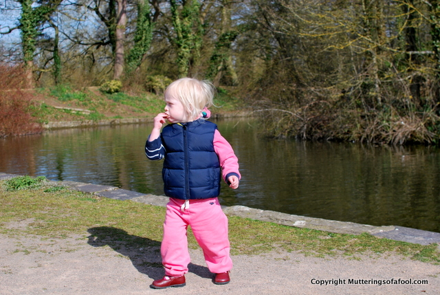 Matilda feeding the ducks