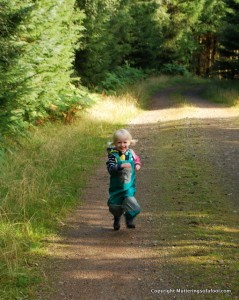 Matilda running in the forest