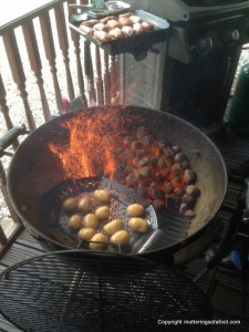 Roasting potatoes on BBQ