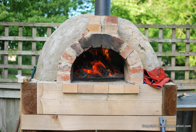 Pizza oven fired up