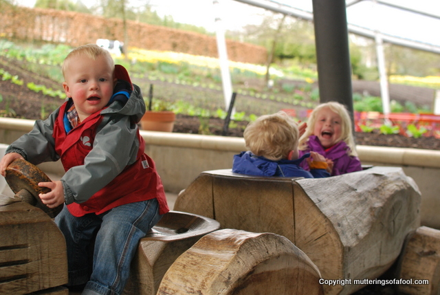 Kids on wooden tractor at Eden project