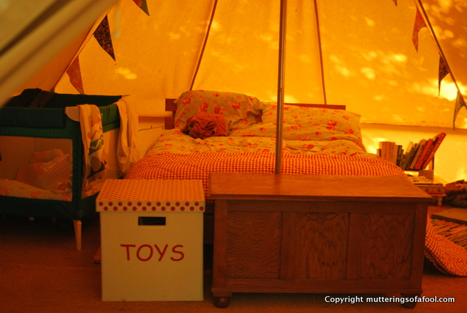 Inside the bell tent